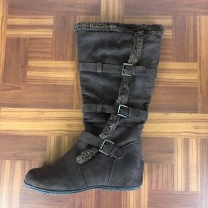 WANTED WEAVER Brown Suede Winter Moto Boots